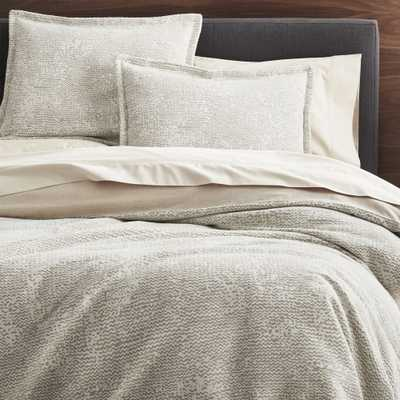 Brice Natural Full/Queen Duvet Cover - Crate and Barrel
