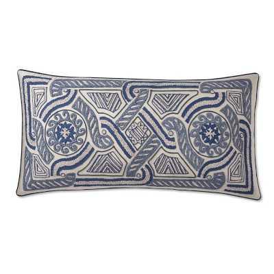 """Medini Chenille Embroidered Pillow Cover, 15"""" X 30"""", Blue - Williams Sonoma"""