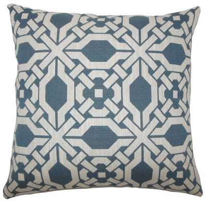 """Rafer Geometric Pillow Pacific - 20"""" x 20"""" - with down insert - Linen & Seam"""