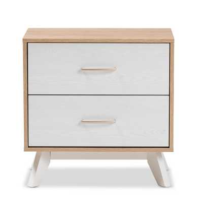 Helena 2-Drawer Natural/Whitewash Nightstand - Home Depot