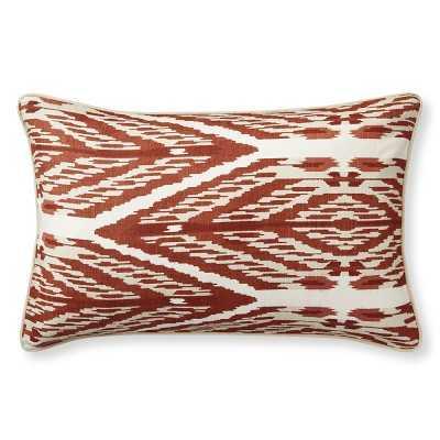 "Sophia Ikat Printed Silk Pillow Cover, 14"" X 22"", Rust - Williams Sonoma"