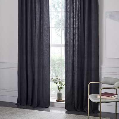 "Textured Cotton Jacquard Curtain - Slate - 84"" - West Elm"