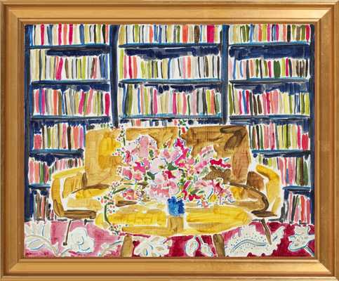 Library with Flowers, framed art print, without mat - Artfully Walls