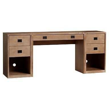 Addison Desk + Double Pedestal Set, Water-Based Brushed Gray - Pottery Barn Teen
