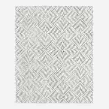 Radiating Diamonds Rug, Platinum/Ivory, 9'x12' - West Elm