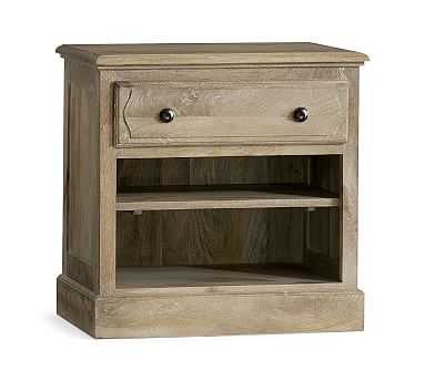 Linden Wood Paneled Bedside Table, Belgian Gray - Pottery Barn