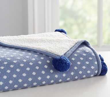 Dot Knit Baby Blanket Blanket, Blue - Pottery Barn Kids