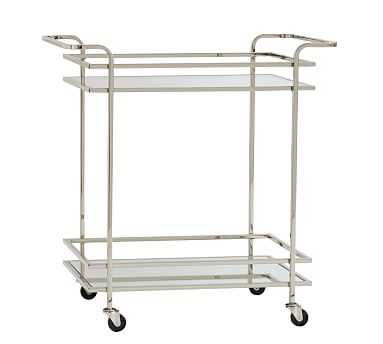 Skylar Bar Cart, Polished Nickel - Pottery Barn