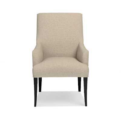 Belvedere Armchair, Ebony, Chunky Linen, Natural - Williams Sonoma