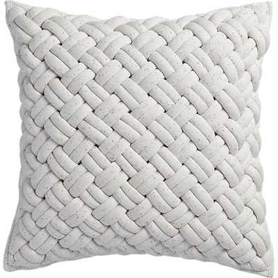 "20"" jersey interknit ivory pillow with feather-down insert - CB2"