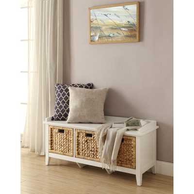 Flavius Storage Bench in White - Home Depot