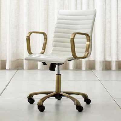 Ripple Ivory Leather Office Chair with Brass Frame - Crate and Barrel