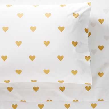 The Emily & Meritt Heart Metallic Sheet Set, Full, Ivory/Gold - Pottery Barn Teen