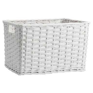 Woven Wicker Baskets, White, Single, Large - Pottery Barn Teen