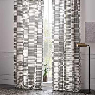 Mixed Stripes Jacquard Curtain - Platinum - West Elm