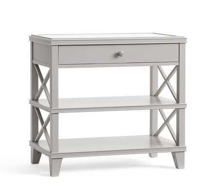 Clara Wide Bedside Table, Gray - Pottery Barn
