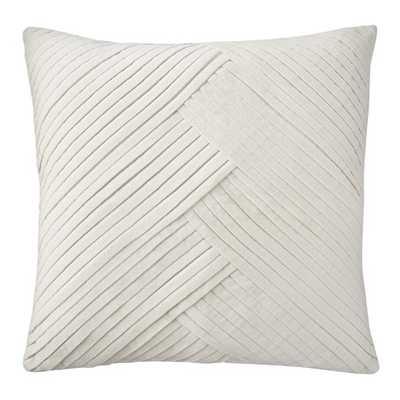 Pleated Velvet Lumbar Pillow Cover, Egret 22X22 - Williams Sonoma