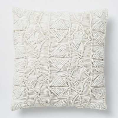 "Macrame Diamond Pillow Cover, 16""X16"", Stone White - West Elm"