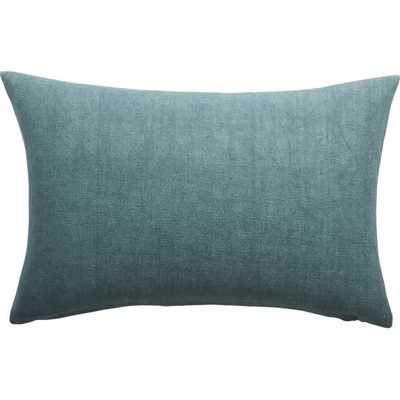 "18""x12"" linon artic blue pillow with feather-down insert - CB2"