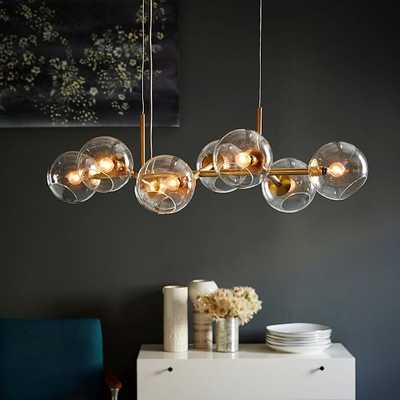 Staggered Glass Chandelier -8- Light, Antique Brass - West Elm