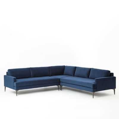Andes L-Shaped Sectional - Performance Velvet, Ink Blue- Large - Right Arm 2.5-Seater Sofa, Corner, Left Arm 2.5-Seater Sofa - Standard Depth - West Elm