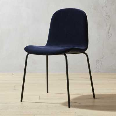 Primitivo Navy Blue Velvet Dining Chair - CB2