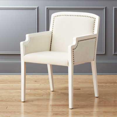 Nailhead White Armchair - CB2