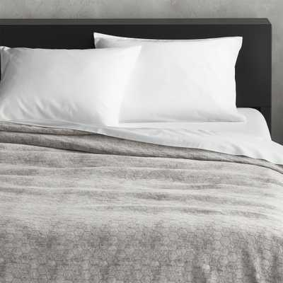 Grey Honeycomb Full/Queen Blanket - CB2
