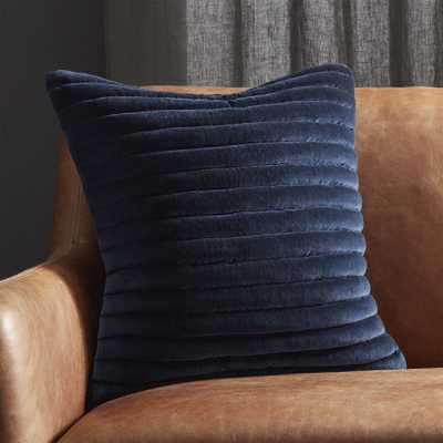 """18"""" Channeled Navy Velvet Pillow with Feather-Down Insert"" - CB2"