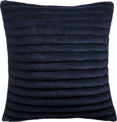 "18"" Channeled Navy Velvet Pillow with Down-Alternative Insert - CB2"
