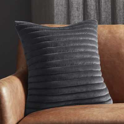 """""""18"""""""" Channeled Dark Grey Velvet Pillow with Feather-Down Insert"""" - CB2"""