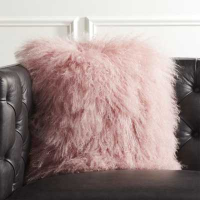 """16"""" Mongolian Sheepskin Pink Fur Pillow with Feather-Down Insert"" - CB2"