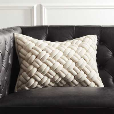 """18""""x12"""" Jersey Ivory InterKnit Pillow with Feather-Down Insert"" - CB2"