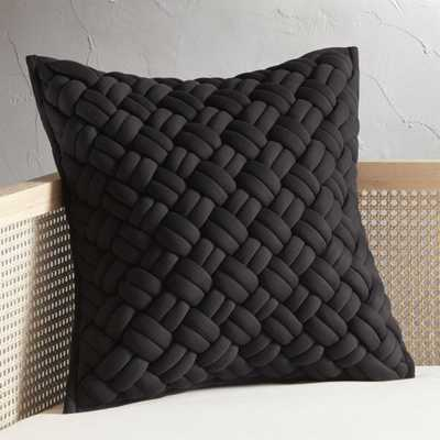 """20"""" Jersey Black InterKnit Pillow with Feather-Down Insert"" - CB2"