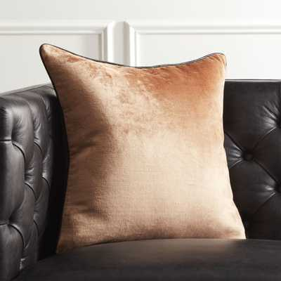 """18"""" Copper Crushed Velvet Pillow with Feather-Down Insert"" - CB2"