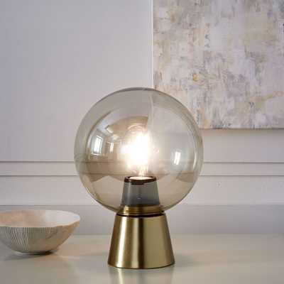 Nova Table Lamp, Round, Antique Brass/Champagne Glass - West Elm