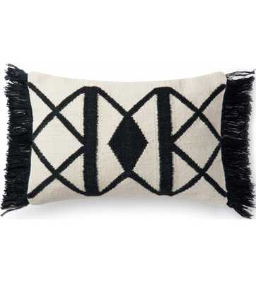 KEATON INDOOR/OUTDOOR LUMBAR PILLOW, BLACK with polyester insert - Lulu and Georgia