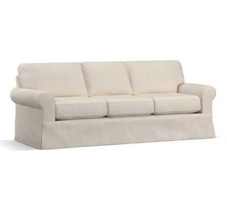 "Buchanan Roll Arm Slipcovered Grand Sofa 93.5"", Twill, Cream - Pottery Barn"