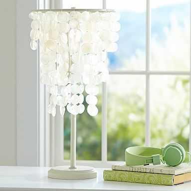 Capiz Table Lamp + CFL Bulb, White - Pottery Barn Teen