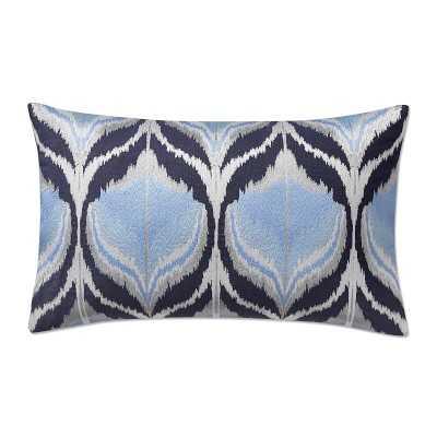 """Metallic Ikat Lumbar Pillow Cover, 14"""" X 22"""", Navy - Williams Sonoma"""