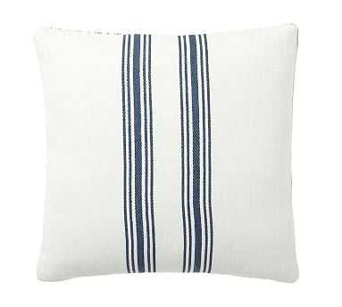 "Culver Grainsack Striped Reversible Pillow Cover, 20"", Storm Blue - Pottery Barn"