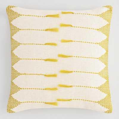 Golden Green Embroidered Tassel Throw Pillow - World Market/Cost Plus