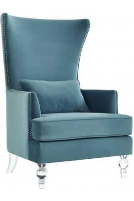 Bornmouth Sea Anna Velvet Chair with Lucite Legs - Maren Home