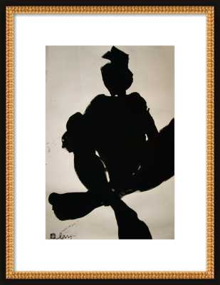 """NUDE 2616 - 14x20"""" - Flat black double bead wood frame, with mat - Artfully Walls"""