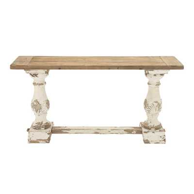 Distressed White Console Table - Home Depot