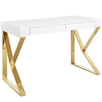 ADJACENT DESK IN WHITE GOLD - Modway Furniture