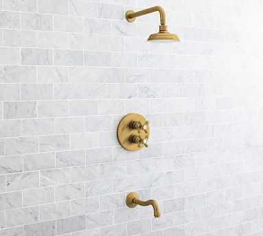 Langford Thermostatic Cross-Handle Bathtub & Shower Faucet Set, Brass Finish - Pottery Barn