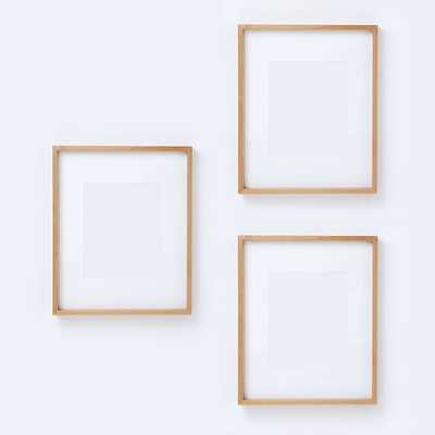 """Thin Wood Gallery Frame, Bamboo, Set Of 3, 15.5""""X19.5"""" (8""""X10"""" Opening With Mat) - West Elm"""