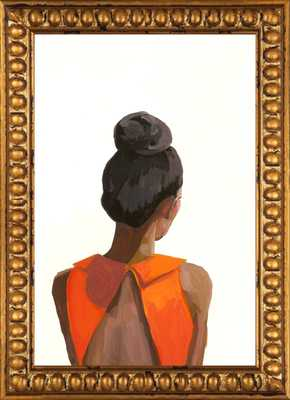 """Top Knot 35 - 10"""" x 14"""" - Gold crackle bead wood frame - With Mat - Artfully Walls"""