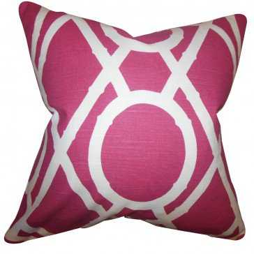 "Whit Geometric Pillow Raspberry - 20"" x 20"" with Down Insert - Linen & Seam"